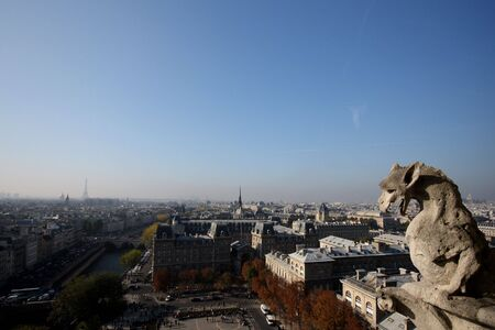 The Gargoyles of Notre Dame looking out over Paris Stock Photo - 3784612