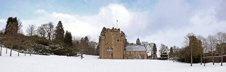 Panoramic of Crathes Castle in the snow, Scotland
