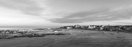 Black and White Panorama of the 1st and 18th holes on the Old Course at St Andrews Stock Photo