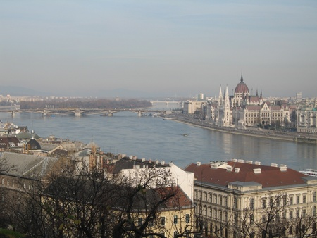 river Danube flowing through Budapest Stock Photo