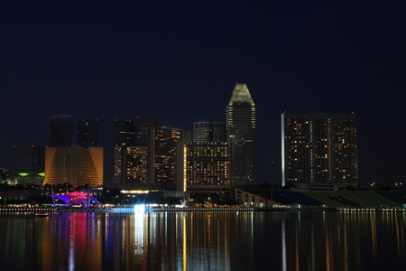 Singapore water front at night