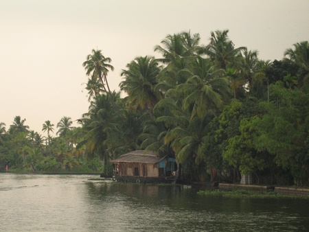 backwaters: Houseboats in Kerela Backwaters, India Editorial
