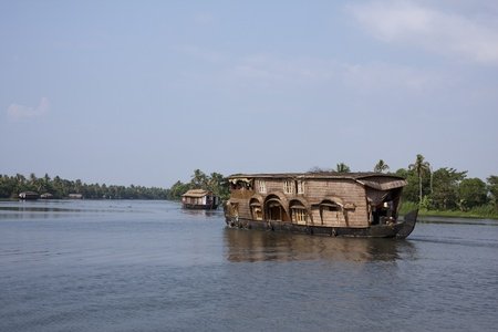 Houseboats in Kerela Backwaters, India Editorial