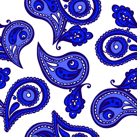 curlicues: Paisley. Vector seamless illustration. Bright color pattern.