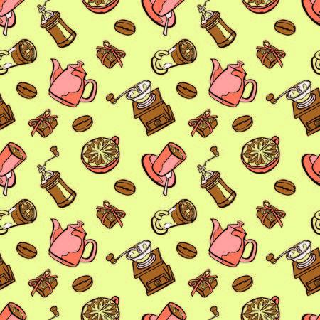 chicchi di caffè: Caff� sfondo. Caffettiera, tazza di caff�, macinino da caff�, chicchi di caff�, macchie di caff� e caff� dolce: Perfetta illustrazione vettoriale. Sfondo bianco e nero.