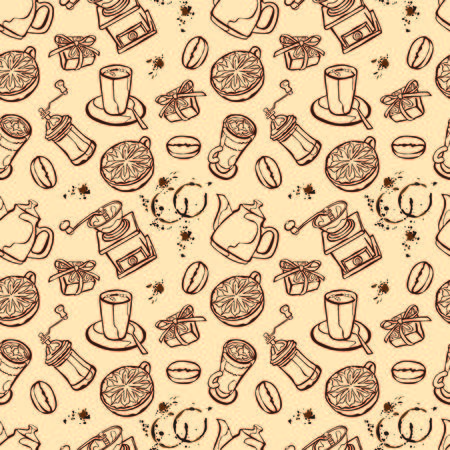 coffee pot: Coffee background. Vector seamless illustration: coffee pot, coffee cup, coffee grinder, coffee beans, coffee stains and coffee dessert. Black and white background.