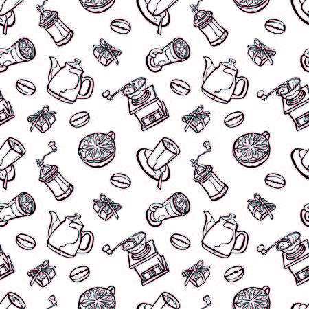 coffee beans background: Coffee background. Vector seamless illustration: coffee pot, coffee cup, coffee grinder, coffee beans, coffee stains and coffee dessert. Black and white background.