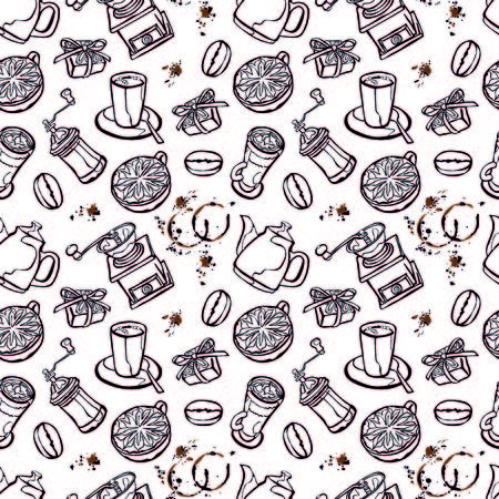 Coffee background. Vector seamless illustration: coffee pot, coffee cup, coffee grinder, coffee beans, coffee stains and coffee dessert. Black and white background.
