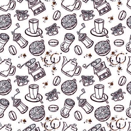chicchi di caff�: Caff� sfondo. Caffettiera, tazza di caff�, macinino da caff�, chicchi di caff�, macchie di caff� e caff� dolce: Perfetta illustrazione vettoriale. Sfondo bianco e nero.