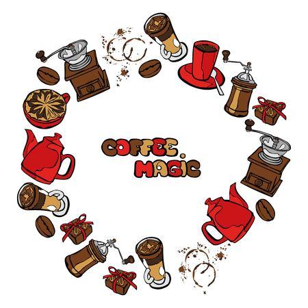 fond caf�: Fond de caf�. Vector illustration parfaite: pot de caf�, tasse de caf�, moulin � caf�, les grains de caf�, les taches de caf� et de caf� dessert. Cadre rond - couronne.