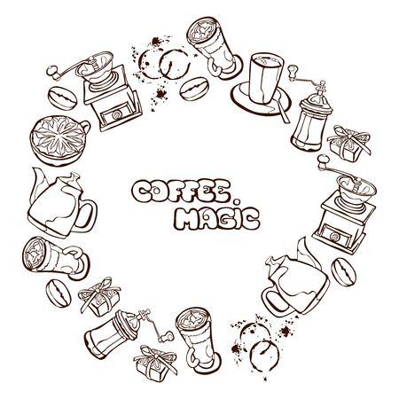 chicchi di caff�: Caff� sfondo. Caffettiera, tazza di caff�, macinino da caff�, chicchi di caff�, macchie di caff� e caff� dolce: Perfetta illustrazione vettoriale. Cornice rotonda - corona.
