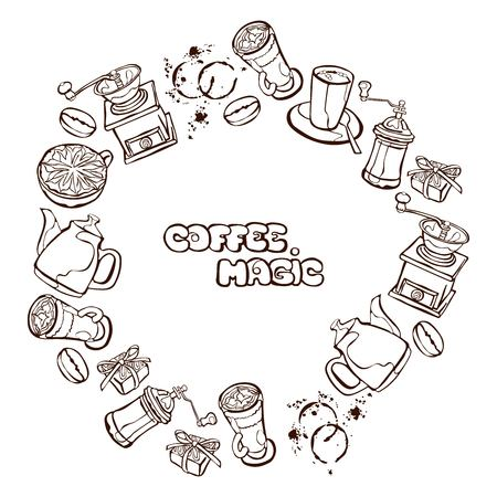Coffee background. Vector seamless illustration: coffee pot, coffee cup, coffee grinder, coffee beans, coffee stains and coffee dessert. Round frame - wreath.