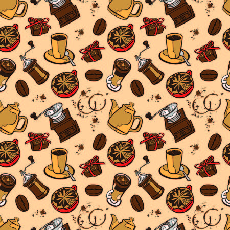 coffee grinder: Coffee background. Vector seamless illustration: coffee pot, coffee cup, coffee grinder, coffee beans, coffee stains and coffee dessert. Black and white background.