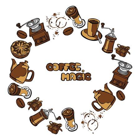 macinino caffè: Caff� sfondo. Caffettiera, tazza di caff�, macinino da caff�, chicchi di caff�, macchie di caff� e caff� dolce: Perfetta illustrazione vettoriale. Cornice rotonda - corona.