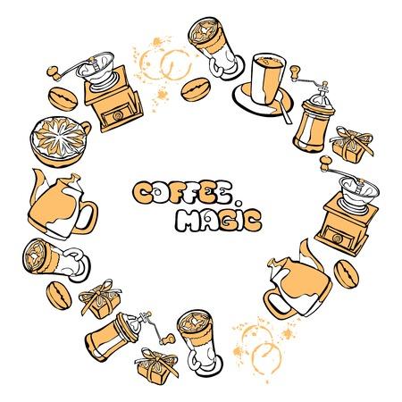 coffee grinder: Coffee background. Vector seamless illustration: coffee pot, coffee cup, coffee grinder, coffee beans, coffee stains and coffee dessert. Round frame - wreath.