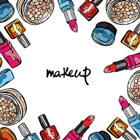 Makeup. Cosmetics. Frame square. Compact powder, eye shadow, lipstick, nail polish.
