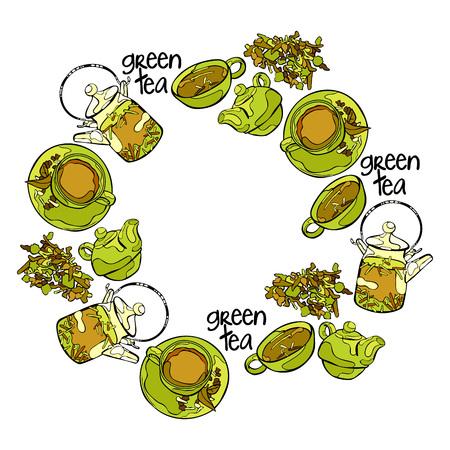 Thé vert. Théière et tasse de thé. Légumes verts. Cadre - couronne. Vecteurs
