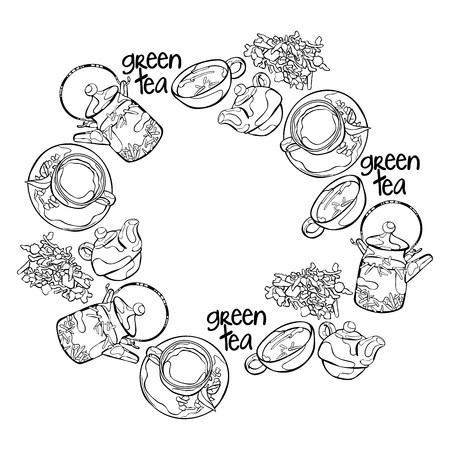 Thé vert. Théière et tasse de thé. Légumes verts. Frame - couronne.