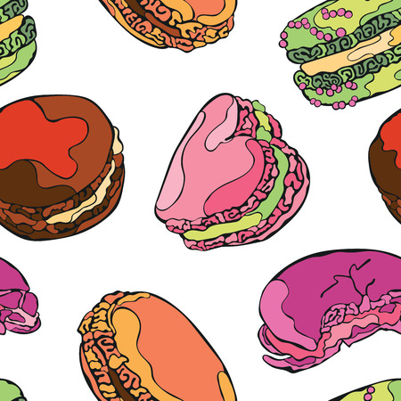 macaroon: Macaroon. Dessert - Candy. Vector seamless pattern background. Bright colored drawing.