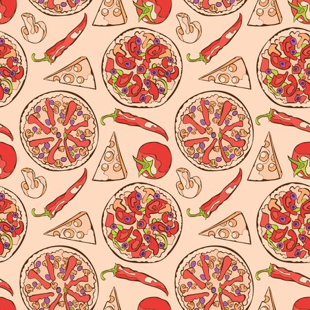 pepper grinder: Pizza. Pizza ingredients. Vector seamless pattern background.