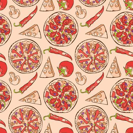 pizza ingredients: Pizza. Pizza ingredients. Vector seamless pattern background.