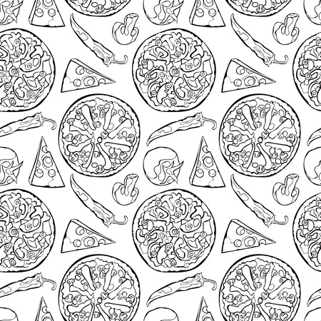 ingredients: Pizza. Pizza ingredients. Vector seamless pattern background.