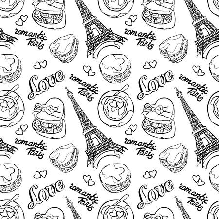 letras negras: París romántico. Amor. Torre Eiffel, macarrones, la taza de café - café con leche, caja del caramelo y el corazón. Vector de fondo de fisuras. Pintar dibujo. Vectores