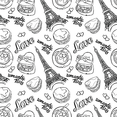 candy box: Romantic Paris. Love. Eiffel Tower, macaroon, coffee cup - latte, Box Candy and heart. Vector seamless pattern background. Color drawing.