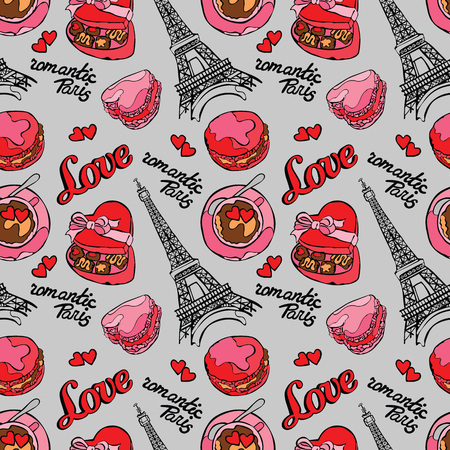 macaroon: Romantic Paris. Love. Eiffel Tower, macaroon, coffee cup - latte, Box Candy and heart. Vector seamless pattern background. Color drawing.