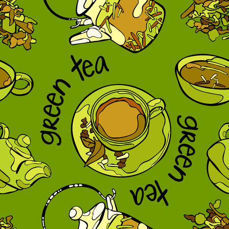 Thé vert. Théière et tasse de thé. Légumes verts. Vector seamless background. Vecteurs