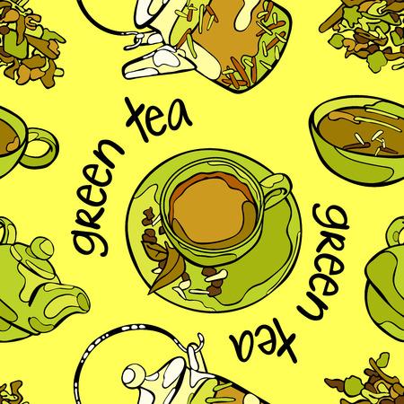 Thé vert. Théière et tasse de thé. Légumes verts. Vector seamless background.