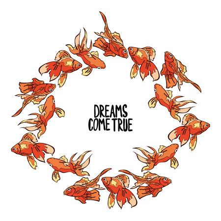 pez dorado: Los sueños se hacen realidad. Pez de colores. Frame - Corona. Vectores