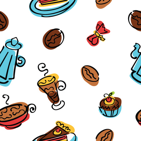 goody: Coffee pattern. Coffee, coffee beans, coffee pot, coffee cup. Dessert and candy. Vector seamless background.