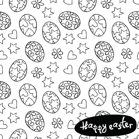 easter: Happy easter. Easter eggs. Stars, hearts and flowers, daisies. Vector seamless pattern background.