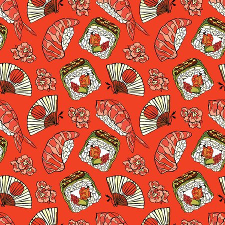 Japanese food. Sushi and rolls. Fan and cherry blossoms. Vector seamless pattern background.