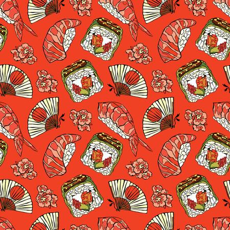 Japans eten. Sushi en broodjes. Ventilator en kersenbloesems. Vector naadloze patroon achtergrond.