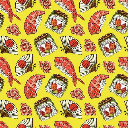 japanese food: Japanese food. Sushi and rolls. Fan and cherry blossoms. Vector seamless pattern background.