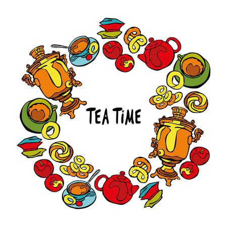 russian food: Samovar and tea cup. Tea time. Baking: bagel and bun. Candy and apples. Teapot. Frame - wreath.