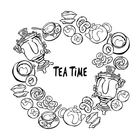 bagel: Samovar and tea cup. Tea time. Baking: bagel and bun. Candy and apples. Teapot. Frame - wreath.