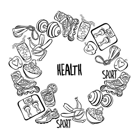 health collage: Health. Healthy lifestyle. Healthy food. Sport. Sneakers, roller skates, cereal, fruit apple, banana, glass of water, floor scales, rope, dumbbells. Frame - wreath. Illustration