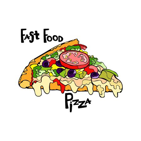 pizza slice: Fast food. Pizza. Pizza slice. Isolated object on white background. Illustration