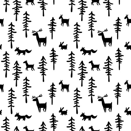 Black and white pattern background. Forest, trees and animals: deer, hare, fox. Seamless ornament.