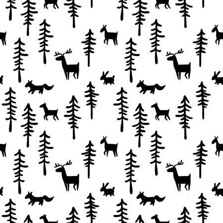 lapin blanc: Noir et blanc motif de fond. Forêt, les arbres et les animaux: cerfs, lièvres, renards. Seamless ornament. Illustration