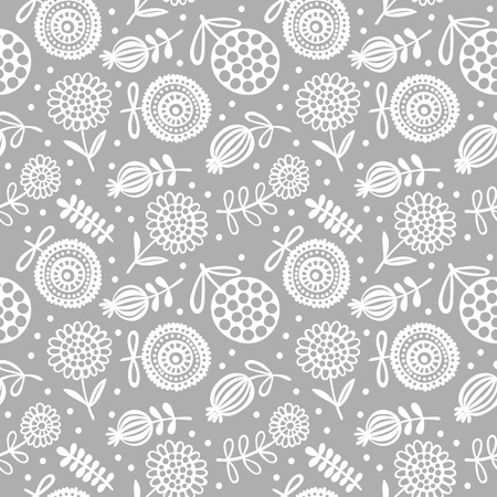 Doodle flower. Hand drawn flowers. Vector seamless pattern background.
