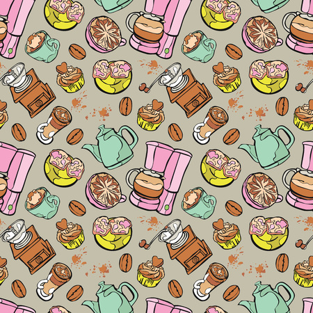 coffee pot: Coffee pattern. Coffee pot and coffee cup. Coffee Machine. Coffee bean and coffee stain. Coffee dessert - cupcake. Vector seamless pattern background.