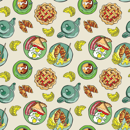 egg cups: Hot drinks: coffee and tea. Breakfast: pastry pie, croissant, brioche, eggs scrambled eggs with bacon, eggs and sausages. Vector seamless pattern background.