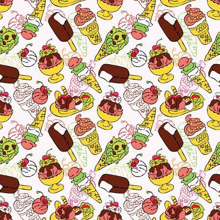 cone cake cone: Ice cream. Vector seamless pattern (background). Illustration