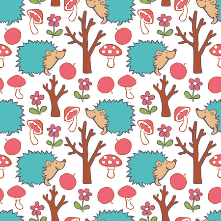 a fly agaric: Hedgehog, red apple, flower, tree, mushroom - fly agaric. Forest. Vector seamless pattern (background).