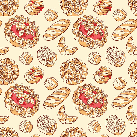 baton: Bake bakery. Baking. Bakery products. Pastry. Baton, croissants, pretzel, bun, bread, cheesecake, cookies, cake, berry pie, shred-pie. Vector seamless pattern (background).