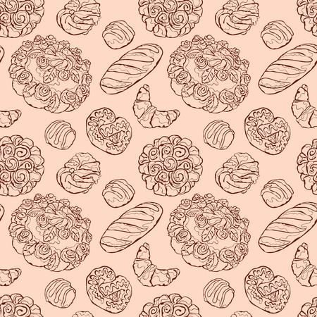 bake: Bake bakery. Baking. Bakery products. Pastry. Baton, croissants, pretzel, bun, bread, cheesecake, cookies, cake, berry pie, shred-pie. Vector seamless pattern (background).